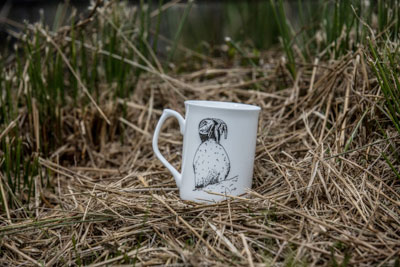 Puffin with Fish Mug